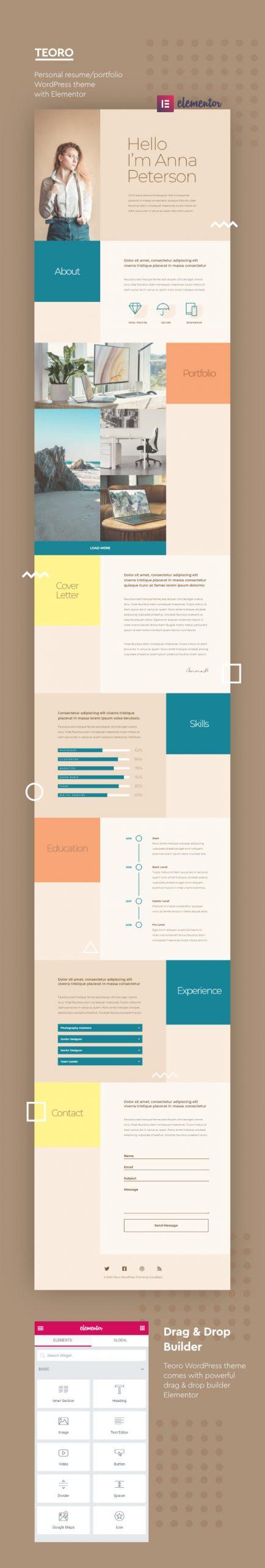 A Teoro elegáns, dobozos és színes egyoldalas önéletrajz WordPress sablon a személyes portfólió weboldaladhoz tökéletes lesz