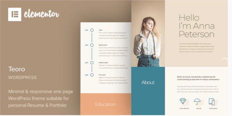 Teoro - Az Önéletrajz kiteljesedéséhez egy nagyszerű, prémium WordPress sablon ingyen most